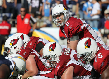 SAN DIEGO - OCTOBER 03:  Quarterback Max Hall #6 of the Arizona Cardinals calls signals against the San Diego Chargers at Qualcomm Stadium on October 3, 2010 in San Diego, California.  The Chargers won 41-10.  (Photo by Stephen Dunn/Getty Images)