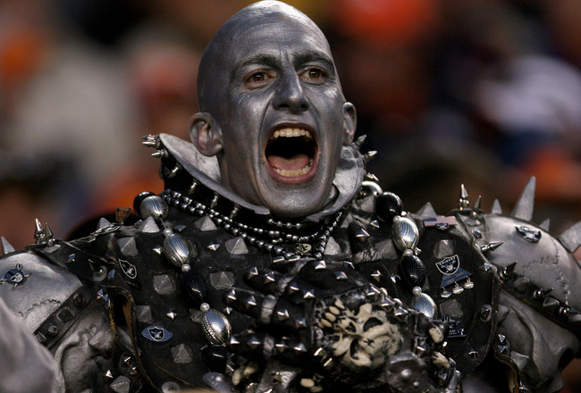DENVER - NOVEMBER 23:  A member of Raider Nation shows his support of the Oakland Raiders as they faced the Denver Broncos during week 12 NFL action at Invesco Field at Mile High on November 23, 2008 in Denver, Colorado. The Raiders defeated the Broncos 3