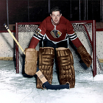 Glenn Hall without a mask. Imagine a goaltender playing without a mask in today's NHL; it wouldn't be pretty.