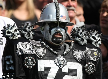 OAKLAND, CA - SEPTEMBER 09:  A fan looks on during  the Detroit Lions and the Oakland Raider NFL game on September 9, 2007 at McAfee Coliseum in Oakland, California.  (Photo by Jed Jacobsohn/Getty Images)