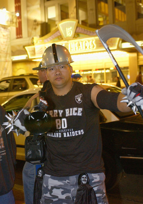 SAN DIEGO - JANUARY 24:  A Raider fan gets decked out in full gear in the Gaslamp District on January 24, 2003 in San Diego, California.  San Diego hosts Super Bowl XXXVII on Sunday January 26, 2003.  (Photo by Ezra Shaw/Getty Images)