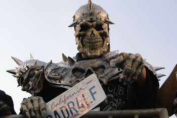 SAN DIEGO - JANUARY 26:  A fan of the Oakland Raiders wears a skull mask and armor while holding his 'RADR4LF' (Raider for Life) license plate during Super Bowl XXXVII against the Tampa Bay Buccaneers on January 26, 2003 at Qualcomm Stadium in San Diego,