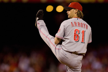 ST. LOUIS - SEPTEMBER 3: Starter Bronson Arroyo #61 of the Cincinnati Reds pitches against the St. Louis Cardinals at Busch Stadium on September 3, 2010 in St. Louis, Missouri.  (Photo by Dilip Vishwanat/Getty Images)