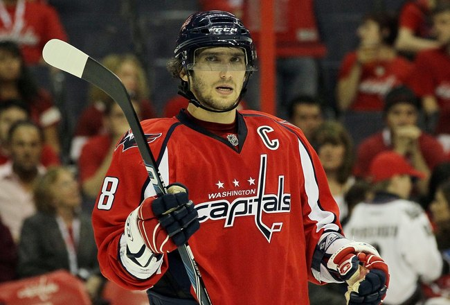 WASHINGTON DC, DC - APRIL 23:  Alex Ovechkin #8 of the Washington Capitals looks on against the Montreal Canadiens in Game Five of the Eastern Conference Quarterfinals during the 2010 NHL Stanley Cup Playoffs at the Verizon Center on April 23, 2010 in Was