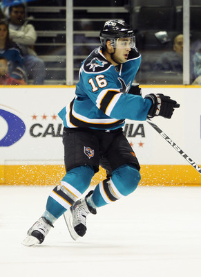 SAN JOSE, CA - SEPTEMBER 25:  Devin Setoguchi #16 of the San Jose Sharks skates up the ice in a preseason split-squad game against the Phoenix Coyotes at HP Pavilion on September 25, 2010 in San Jose, California.  The Sharks won 3-1.  (Photo by Brian Bahr