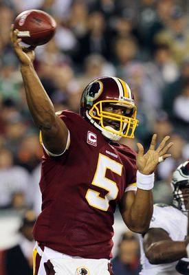 PHILADELPHIA - OCTOBER 03:  Donovan McNabb #5 of the Washington Redskins throws a pass in the second half against the Philadelphia Eagles on October 3, 2010 at Lincoln Financial Field in Philadelphia, Pennsylvania. The Redskins defeated the Eagles 17-12.