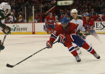 MONTREAL, QC - SEPTEMBER 26:  P.K. Subban #76 of the Montreal Canadiens skates against the Minnesota Wild at the Bell Centre on September 26, 2010 in Montreal, Canada.  (Photo by Bruce Bennett/Getty Images)