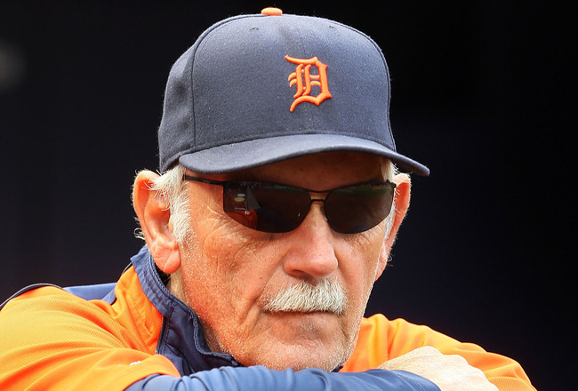 NEW YORK - AUGUST 16:  Manager Jim Leyland of the Detroit Tigers looks on during batting practice before his team plays against the New York Yankees on August 16, 2010 at Yankee Stadium in the Bronx borough of New York City.  (Photo by Jim McIsaac/Getty I