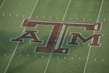 COLLEGE STATION, TX - SEPTEMBER 11:  A general view of the Texas A&M Aggies logo at midfield during the game against the Wyoming Cowboys on September 11, 2004 at Kyle Field in College Station, Texas. The Aggies won 31-0. (Photo by Ronald Martinez/Getty Im