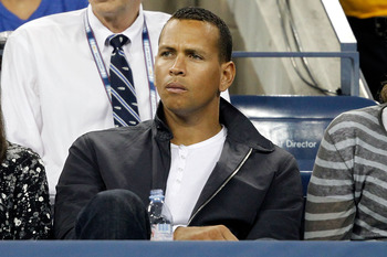 NEW YORK - SEPTEMBER 06:  Alex Rodriguez of the New York Yankees watches Roger Federer of Switzerland hits a return against Jurgen Melzer of Austria during day eight of the 2010 U.S. Open at the USTA Billie Jean King National Tennis Center on September 6,