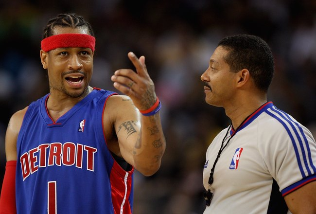 OAKLAND, CA - NOVEMBER 13:  Allen Iverson #1 of the Detroit Pistons discusses a call with referee Bill Kennedy during the game against the Golden State Warriors on November 13, 2008 at Oracle Arena in Oakland, California.  The Piston won 107-102.  NOTE TO