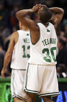 BOSTON - DECEMBER 08:  Sebastian Telfair #30 of the Boston Celtics walks off the court after another tough loss against the Phoenix Suns on December 8, 2006 at the TD Banknorth Garden in Boston, Massachusetts. The Phoenix Suns defeated the Boston Celtics