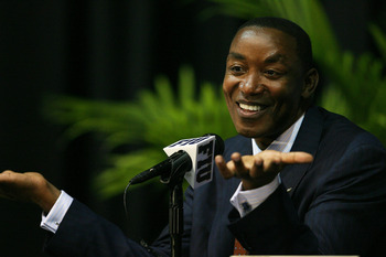 MIAMI - APRIL 15:  Isiah Thomas talks to the media after Director of Athletics Pete Garcia introduced him as the new head coach for Florida International Univeristy men's basketball team at U.S.Century Bank Arena on April 15, 2009 in Miami, Florida.  (Pho