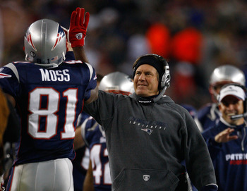 FOXBORO, MA - OCTOBER 20:  Coach Bill Belichick celebrates after a second touchdown by Randy Moss #81 of the New England Patriots at Gillette Stadium on October 20, 2008 in Foxboro, Massachusetts. The Patriots won 41-7. (Photo by Jim Rogash/Getty Images)