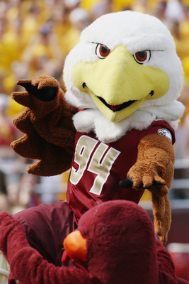 CHESTNUT HILL, MA - SEPTEMBER 25:  The Boston College Eagles mascot and the Virginia Tech Hokies mascot square off on September 25, 2010 at Alumni Stadium in Chestnut Hill, Massachusetts.  (Photo by Elsa/Getty Images)
