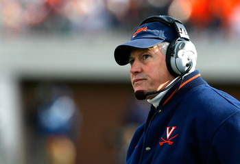 CHARLOTTESVILLE, VA - NOVEMBER 24:  Head coach Al Groh of the Virginia Cavaliers looks on during the second half against the Virginia Tech Hokies at Scott Stadium on November 24, 2007 in Charlottesville, Virginia.  Virginia Tech defeated Virginia 33-21.