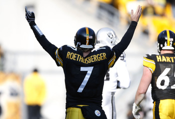 PITTSBURGH - DECEMBER 06:  Ben Roethlisberger #7 of the Pittsburgh Steelers celebrates a second quarter touchdown while playing the Oakland Raiders on December 6, 2009 at Heinz Field in Pittsburgh, Pennsylvania.  (Photo by Gregory Shamus/Getty Images)