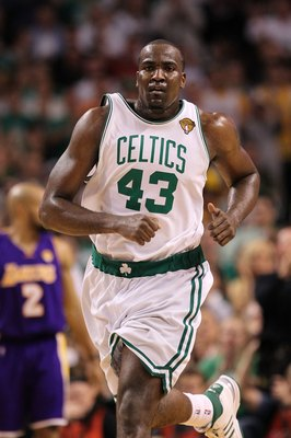 BOSTON - JUNE 10:  Kendrick Perkins #43 of the Boston Celtics looks on against the Los Angeles Lakers during Game Four of the 2010 NBA Finals on June 10, 2010 at TD Garden in Boston, Massachusetts. The Celtics won 96-89. NOTE TO USER: User expressly ackno