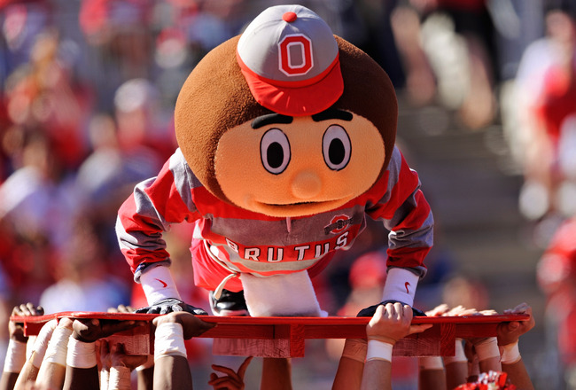 COLUMBUS, OH - OCTOBER 9:  Ohio State Buckeyes mascot Brutus Buckeye performs pushups equal to the number of points Ohio State has scored against the Indiana Hoosiers at Ohio Stadium on October 9, 2010 in Columbus, Ohio. Ohio State defeated Indiana 38-10.