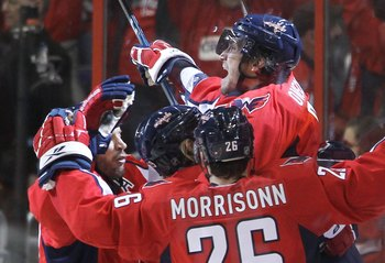 WASHINGTON - APRIL 28: Alex Ovechkin #8 of the Washington Capitals celebrates a goal that was later disallowed against the Montreal Canadiens in Game Seven of the Eastern Conference Quarterfinals during the 2010 NHL Stanley Cup Playoffs at the Verizon Cen