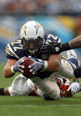SAN DIEGO, CA - DECEMBER 20:  Full-back Jacob Hester #22 of the San Diego Chargers dives with the ball against the Cincinnati Bengals during the NFL game on December 20, 2009 at Qualcomm Stadium in San Diego, California.  (Photo by Donald Miralle/Getty Im