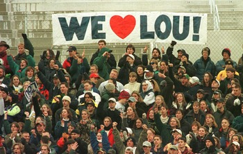 23 Nov 1996:  Fans of the Notre Dame Fighting Irish sit in the Notre Dame student section display their affection for head coach Lou Holtz as he coaches his last home game in the Irish''s match up against the Rutgers Scarlet Knights at Notre Dame Stadium