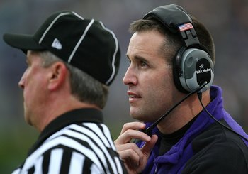 EVANSTON, IL - OCTOBER 31: Head coach Pat Fitzgerald of the Northwestern Wildcats talks to a referee as his team takes on the Penn State Nittany Lions at Ryan Field on October 31, 2009 in Evanston, Illinois. Penn State defeated Northwestern 34-13.  (Photo