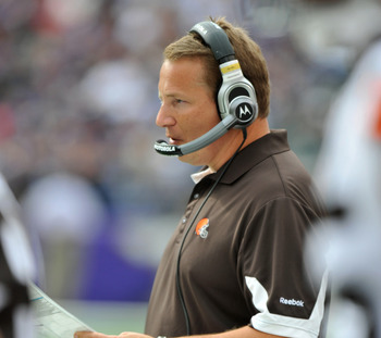 BALTIMORE - SEPTEMBER 26:  Head coach  Eric Mangini of the Cleveland Browns coaches against the Baltimore Ravens  at M&T Bank Stadium on September 26, 2010 in Baltimore, Maryland. The Ravens defeated the Browns 24-17. (Photo by Larry French/Getty Images)