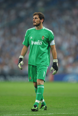 MADRID, SPAIN - SEPTEMBER 15:  Iker Casillas of Real Madrid looks on during the UEFA Champions League group G match between Real Madrid and Ajax at the Estadio Santiago Bernabeu on September 15, 2010 in Madrid, Spain. Real Madrid won the match 2-0.  (Phot