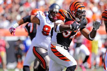 CINCINNATI, OH - OCTOBER 10:  Cedric Benson #32 of the Cincinnati Bengals picks up some of his 144 yards of rushing against the Tampa Bay Buccaneers at Paul Brown Stadium on October 10, 2010 in Cincinnati, Ohio.  (Photo by Jamie Sabau/Getty Images)