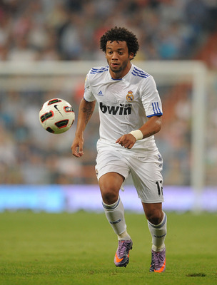 MADRID, SPAIN - SEPTEMBER 11: Marcelo of Real Madrid in action during the La Liga match between Real Madrid and Osasuna at Estadio Santiago Bernabeu on September 11, 2010 in Madrid, Spain.  (Photo by Denis Doyle/Getty Images)