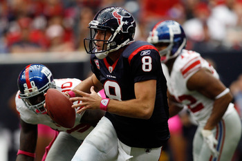 HOUSTON - OCTOBER 10:  Matt Schaub #8 of the Houston Texans runs with the ball during the game against the New York Giants at Reliant Stadium on October 10, 2010 in Houston, Texas.  The Giants defeated the Texans 34-10.  (Photo by Chris Graythen/Getty Ima