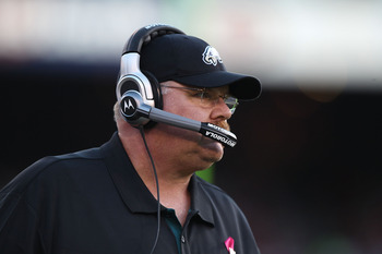 SAN FRANCISCO - OCTOBER 10:  Head coach Andy Reid of the Philadelphia Eagles looks on against the San Francisco 49ers during an NFL game at Candlestick Park on October 10, 2010 in San Francisco, California.  (Photo by Jed Jacobsohn/Getty Images)