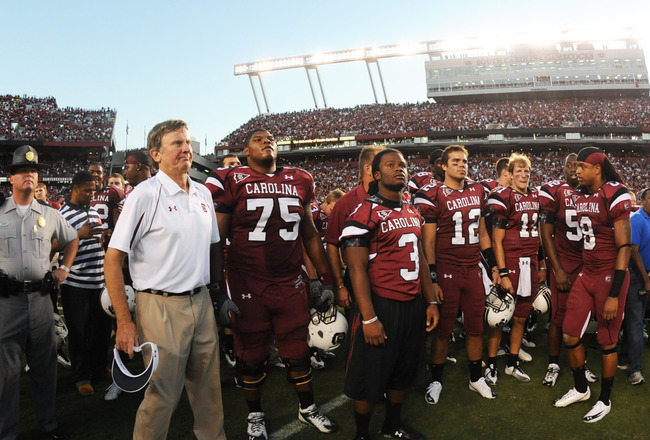 COLUMBIA, SC - OCTOBER 9: Coach Steve Spurrier of the South Carolina Gamecocks lines up with players after play against the Alabama Crimson Tide October 9, 2010 at Williams-Brice Stadium in Columbia, South Carolina.  (Photo by Al Messerschmidt/Getty Image