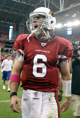 GLENDALE, AZ - OCTOBER 10:  Quarterback Max Hall #6 of the Arizona Cardinals reacts to fans as he walks off the field following the NFL game against the New Orleans Saints at the University of Phoenix Stadium on October 10, 2010 in Glendale, Arizona. The