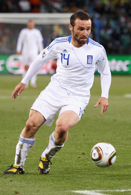 BLOEMFONTEIN, SOUTH AFRICA - JUNE 17:  Dimitrios Salpingidis of Greece in action during the 2010 FIFA World Cup South Africa Group B match between Greece and Nigeria at the Free State Stadium on June 17, 2010 in Mangaung/Bloemfontein, South Africa.  (Phot