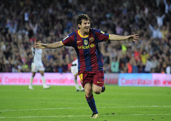 BARCELONA, SPAIN - OCTOBER 03:  Lionel Messi of Barcelona celebrates after scoring during the La Liga match between Barcelona and Mallorca at the Camp Nou stadium on October 3, 2010 in Barcelona, Spain.  (Photo by David Ramos/Getty Images)