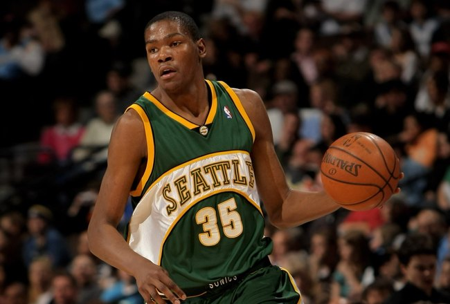 DENVER - MARCH 16:  Kevin Durant #35 of the Seattle SuperSonics controls the ball against the Denver Nuggets at the Pepsi Center on March 16, 2008 in Denver, Colorado. The Nuggets defeated the Sonics 168-116. NOTE TO USER: User expressly acknowledges and