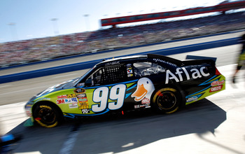 FONTANA, CA - OCTOBER 10:  Carl Edwards, driver of the #99 Aflac Ford, leaves the pits after making a stop during the NASCAR Sprint Cup Series Pepsi Max 400 on October 10, 2010 in Fontana, California.  (Photo by Tom Pennington/Getty Images for NASCAR)