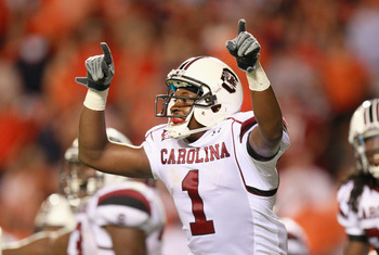 AUBURN, AL - SEPTEMBER 25:  Alshon Jeffery #1 of the South Carolina Gamecocks reacts after catching a touchdown reception against the Auburn Tigers at Jordan-Hare Stadium on September 25, 2010 in Auburn, Alabama.  (Photo by Kevin C. Cox/Getty Images)