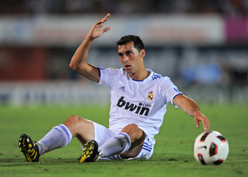 PALMA DE MALLORCA, SPAIN - AUGUST 29:  Alvaro Arbeloa of Real Madrid reacts during the La Liga match between Mallorca and Real Madrid at the ONO Estadio on August 29, 2010 in Palma de Mallorca, Spain. The match ended in a 0-0 draw.  (Photo by Jasper Juine