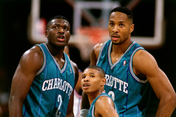 Larry Johnson, Mugsy Bogues, and Alonzo Mourning