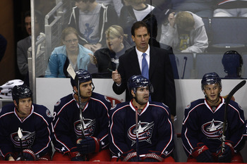 COLUMBUS,OH - SEPTEMBER 28:  Columbus Blue Jackets head coach Scott Arniel watches as his team takes on the Minnesota Wild during the third period on September 28, 2010 at Nationwide Arena in Columbus, Ohio.  Columbus defeated Minnesota 3-2 in a shoot out