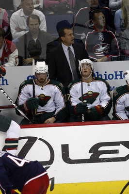 COLUMBUS,OH - SEPTEMBER 28:  Minnesota Wild head coach Todd Richards watches as his team takes on the Columbus Blue Jackets during the third period on September 28, 2010 at Nationwide Arena in Columbus, Ohio.  (Photo by John Grieshop/Getty Images)
