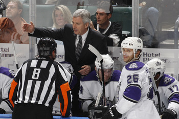SUNRISE, FL - NOVEMBER 16: Head coach Terry Murray of the Los Angeles Kings talks to referee Dave Jackson #8 after the Florida Panthers scored a goal on November 16, 2009 at the BankAtlantic Center in Sunrise, Florida. (Photo by Joel Auerbach/Getty Images
