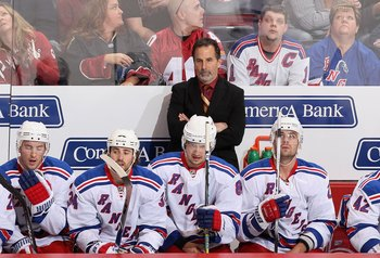 GLENDALE, AZ - JANUARY 30: Head coach John Tortorella of the New York Rangers during the NHL game against the Phoenix Coyotes at Jobing.com Arena on January 30, 2010 in Glendale, Arizona. The Coyotes defeated the Rangers 3-2.   (Photo by Christian Peterse