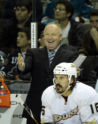 SAN JOSE, CA - SEPTEMBER 24:  Head coach Randy Carlyle of the Anaheim Ducks stands on the bench during their preseason game against the San Jose Sharks at HP Pavilion on September 24, 2010 in San Jose, California.  (Photo by Ezra Shaw/Getty Images)