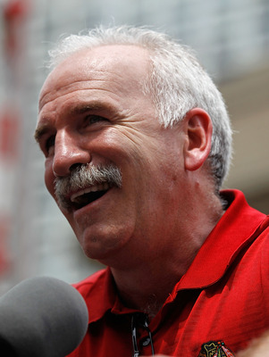 CHICAGO - JUNE 11: Head coach Joel Quenneville speaks to the crowd during the Chicago Blackhawks Stanley Cup victory parade and rally on June 11, 2010 in Chicago, Illinois. (Photo by Jonathan Daniel/Getty Images)