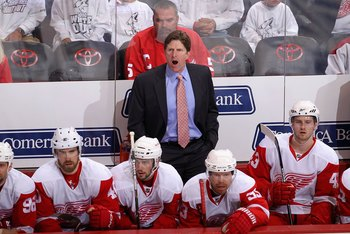 GLENDALE, AZ - APRIL 23:  Head coach Mike Babcock of the Detroit Red Wings coaches in Game Five of the Western Conference Quarterfinals against the Phoenix Coyotes during the 2010 NHL Stanley Cup Playoffs at Jobing.com Arena on April 23, 2010 in Glendale,