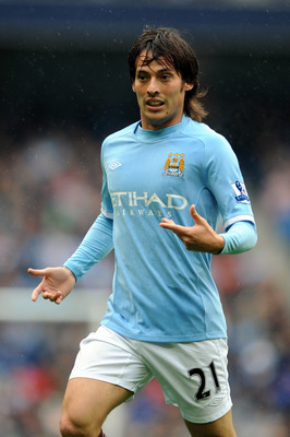 MANCHESTER, ENGLAND - OCTOBER 03:  David Silva of Manchester City during the Barclays Premier League match between Manchester City and Newcastle United at City of Manchester Stadium on October 3, 2010 in Manchester, England.  (Photo by Chris Brunskill/Get